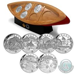 2015 $10 Canoe Across Canada Fine Silver 6-coin Set with Canoe Shaped Box (Tax Exempt) Coins come en