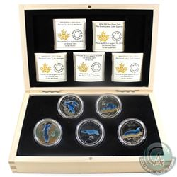 2014-2015 Canada $20 Great Lakes Fine Silver 5-coin Set in Deluxe RCM Case (Tax Exempt)  Coins conta