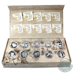 Complete 2014-2015 Canada $15 Exploring Canada Fine Silver  10-Coin Set in RCM Display Case (Tax Exe