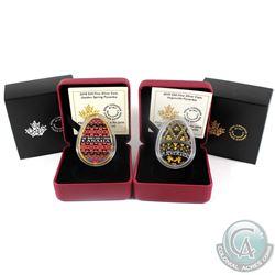 2018 Canada $20 Golden Spring Pysanka & 2019 Canada $20 Vegreville Pysanka Fine Silver Coins (Tax Ex