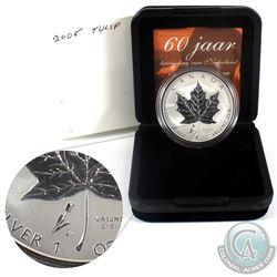 2005 Canada Privy Mark Tulip 1oz. Fine Silver Maple Leaf (TAX Exempt)