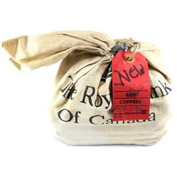 ** Sealed 1973 or 1974 Canada 1-cent Rolls in Original Royal Bank of Canada Burlap Bag. Bag contains