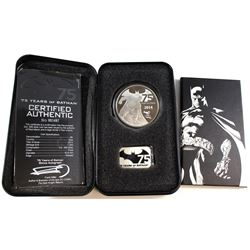 2014 Niue $5 75 Years of Batman 2oz Fine Silver Coin Set (Tax Exempt). Coin comes encapsulated in or