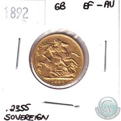 1892 Great Britain Gold Sovereign EF-AU. Contains .2355oz of Fine Gold.