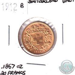 1912B Switzerland Gold 20-Francs UNC+.  Contains .1867oz of Fine Gold.