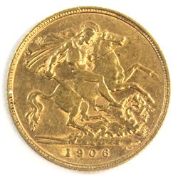 1906 Great Britain Gold 1/2 Sovereign EF.  Contains .1177oz of Fine Gold.