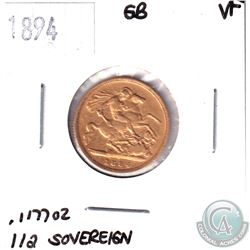 1894 Great Britain Gold 1/2 Sovereign VF.  Contains .1177oz of Fine Gold.