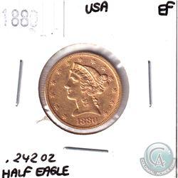 1880 United States Gold Half Eagle EF.  Contains .242oz of Fine Gold.