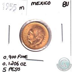1955m Mexico Gold 5-Pesos BU.  Contains .1206oz of Fine Gold.