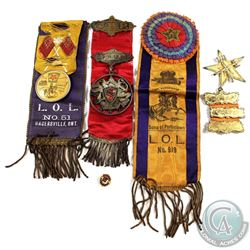 Estate Lot of Masonic/Lodge Ribbons, Medals and Pin.  You will receive 5 pieces in this collection.