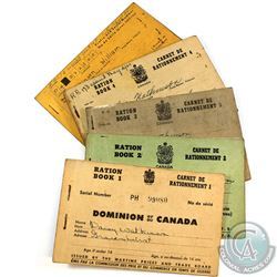 Estate Lot of Canada Ration Books from WWII.  You will receive 6 Booklets marked Ration Book 1 throu
