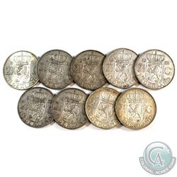 Estate Lot 1959-1962 Netherlands 2 1/2 Gulden Silver Coin Lot.  You will receive 9 coins in this col
