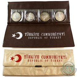 1960-1972 Republic of Turkey Silver Proof 4-coin set in Original Folder. (toned)
