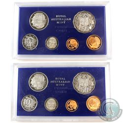 1979 & 1980 Australia 6-coin Proof Sets. Coins are housed in the mint display slabs with COA's. 2 se