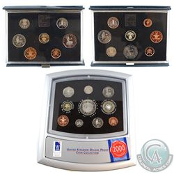 1984, 1985, 2000 United Kingdom Proof set Collection.  You will receive the 1984 8-coin set (toned),