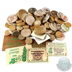 Estate lot of Mixed Wooden Tokens. You will receive 84 Tokens in this collection. 84pcs.