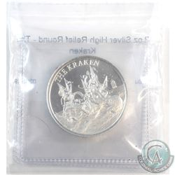 The Kraken 2oz. .999 Fine Silver High Relief Round (Tax Exempt) Produced by the Intaglio Mint.