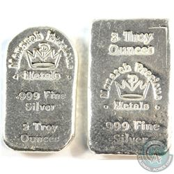 Monarch Precious Medals 2oz & 3oz Fine Silver Bars (Tax Exempt) You will receive a total of 5oz.  2p