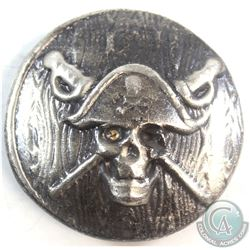 Beaver Bullion Pirate Skull and Crossed Swords 2oz .999 Silver Round (Tax Exempt)