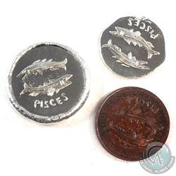 Beaver Bullion 1/4oz & 1oz Pisces Fine Silver Rounds & 1/4oz Fine Copper Pisces Round. (Tax Exempt)
