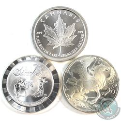 Lot of 3 Different 1oz Fine Silver Rounds (Tax Exempt) 3pcs.
