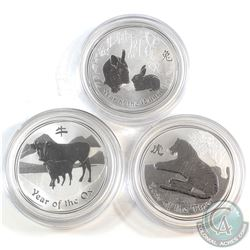 2009 Year of the OX, 2010 Year of the TIGER, 2011 Year of the RABBIT Australia $1 BU 1oz Fine Silver