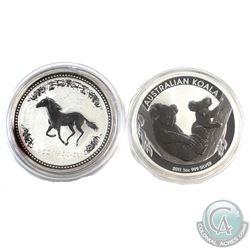 2002 Australia Year of the Horse (toned) & 2011 Australia Koala 1oz Fine Silver Coins (Tax Exempt) 2