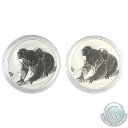 2x 2010 Australia $1 Koala 1oz Fine Silver Coins (Tax Exempt) 2pcs.