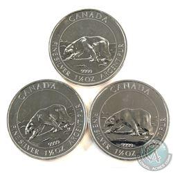 3x 2013 Canada $8 Polar Bear 1.5oz. Fine Silver Coins (Tax exempt) Impaired. 3pcs.