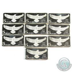 10x Monarch 5 gram Eagle .999 Silver Bars (Tax Exempt) 10pcs.