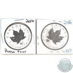 2014 Canada $5 Horse Privy & 2016 Canada $5 Grizzly Privy 1oz Fine Silver Maples (Tax Exempt) contai