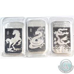 2012 Dragon, 2013 Snake, 2014 Horse 1oz Fine Silver Lunar Bars (Tax Exempt) 3pcs.