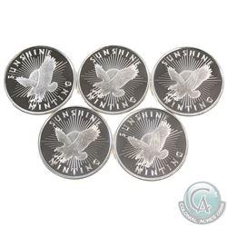 5x Sunshine Mint 1/2oz Fine Silver Rounds (Tax Exempt) 5pcs.