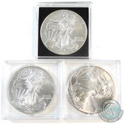 2012, 2013, 2015 United States $1 American Eagle 1oz. .Fine 999 Silver Coins (Tax Exempt) 3pcs.