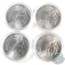 4x Indian/Buffalo 1oz. .999 Fine silver rounds (Tax Exempt) 4pcs.