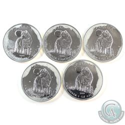 5x 2011 Canada $5 Wildlife - Wolf 1oz. Fine Silver Coins (TAX Exempt) Toned. 5pcs.