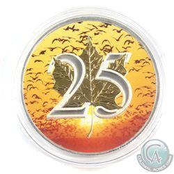 2013 Canada $5 1oz Coloured 'Birds Sunrise' 25th Anniversary Fine Silver Maple (Tax Exempt)