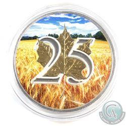 2013 Canada $5 1oz Coloured 'Wheat Field' 25th Anniversary Fine Silver Maple (Tax Exempt)