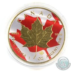 2016 Canada $5 Coloured Flag with Gold Plating 1oz Fine Silver Maple (Tax Exempt)