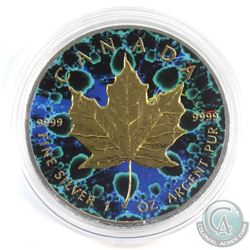 2016 Canada $5 Coloured Green & Blue kaleidoscope with Gold Plating 1oz Fine Silver Maple (Tax Exemp