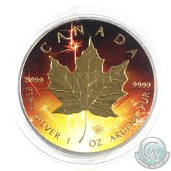2016 Canada $5 Coloured 'Celebration' with Gold Plating 1oz Fine Silver Maple (Tax Exempt)
