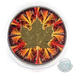 2016 Canada $5 Coloured Orange & Red kaleidoscope with Gold Plating 1oz Fine Silver Maple (Tax Exemp