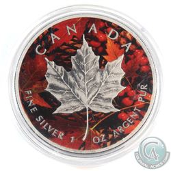 2015 Canada $5 Coloured 'Fall' with Antiqued Finish 1oz Fine Silver Maple (Tax Exempt)