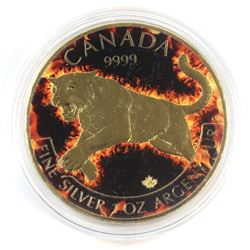 2016 Canada $5 Coloured 'Flame' Cougar Gilded with Flag Reverse 1oz Fine Silver Maple (Tax Exempt)