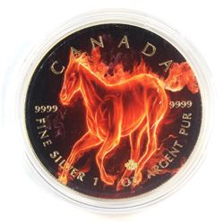 2017 Canada $5 Coloured 'Flame' Horse Gilded 1oz Fine Silver Maple (Tax Exempt)