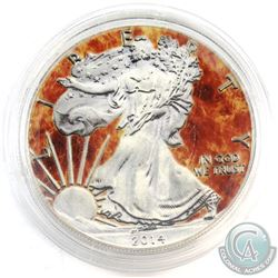 2014 United States $1 Coloured 'Fire' Glow in the Dark 1oz Fine Silver Eagle (Tax Exempt)