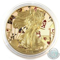 2018 United States $1 Coloured 'Deck of Cards' Gilded 1oz Fine Silver Eagle (Tax Exempt)