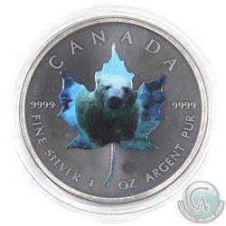 2015 Canada $5 Coloured 'Polar Bear' Antique Finish 1oz Fine Silver Maple (Tax Exempt)