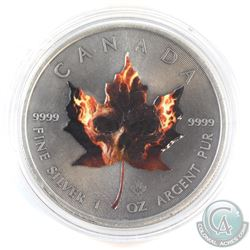 2015 Canada $5 Coloured 'Flaming Skull' Antique Finish 1oz Fine Silver Maple (Tax Exempt)