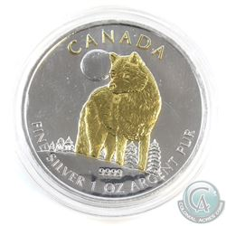 2011 Canada $5 Gilded Wolf 1oz Fine Silver Maple (Tax Exempt)